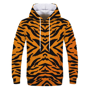Tiger Print Casual Men Hoody Coat