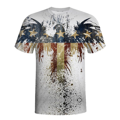 Retro Eagle American Flag Print Tee