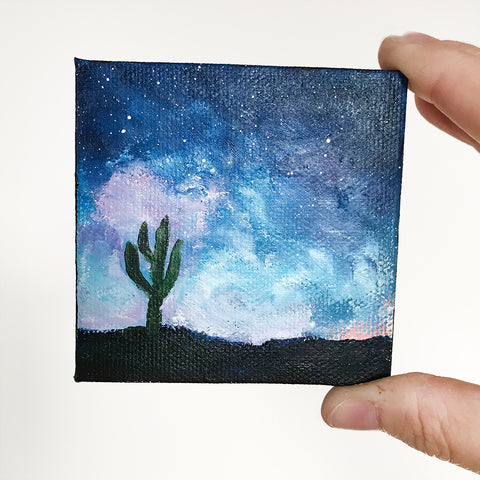 Tuscon Night Sky Original Acrylic Painting - 3x3 Tiny Art - april bern photography