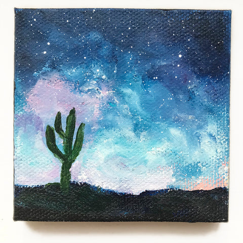 Tuscon Night Sky Original Acrylic Painting - 3x3 Tiny Art