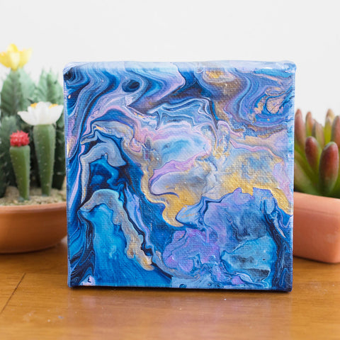 Blue Magic Acrylic Fluid Art Painting - 4x4 Abstract Art