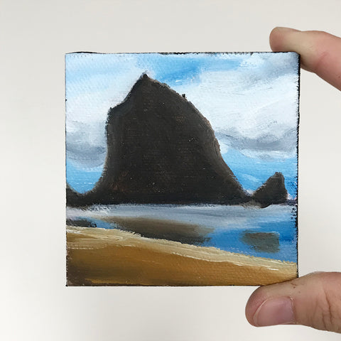 Cannon Beach Original Oil Painting - 3x3 Tiny Art - april bern photography