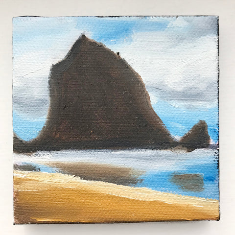 Cannon Beach Original Oil Painting - 3x3 Tiny Art