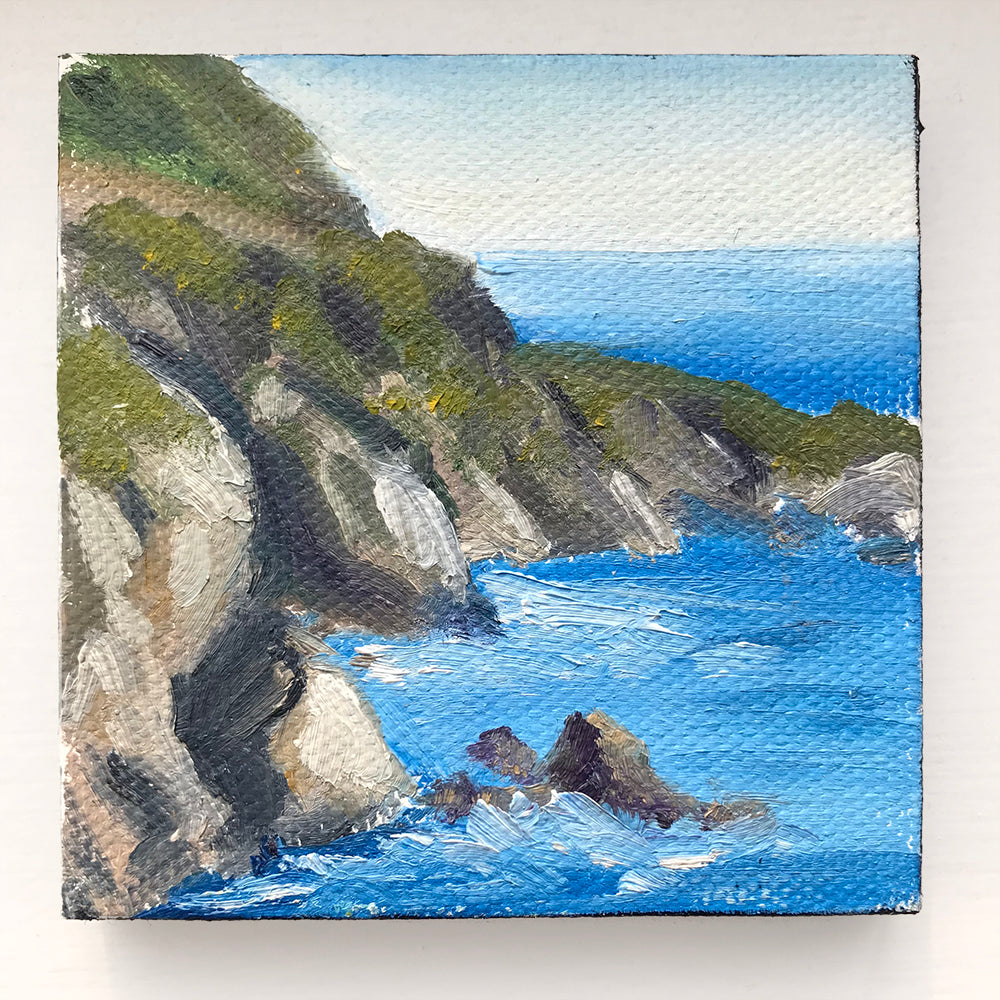 Big Sur California Original Oil Painting - 3x3 Tiny Art - april bern photography