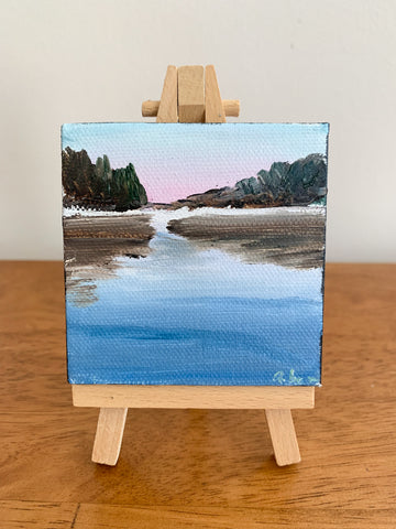 Serene Dreamscape Original Oil Painting - 3x3 Tiny Art - april bern photography