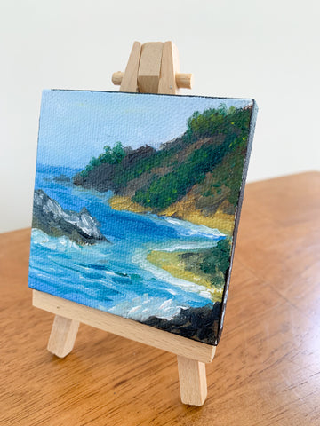 Big Sur California Landscape, Original Oil Painting - 3x3 Tiny Art - april bern art & photography
