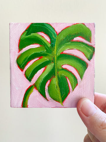 Tiny Monstera Original Oil Painting - 3x3 Tiny Art