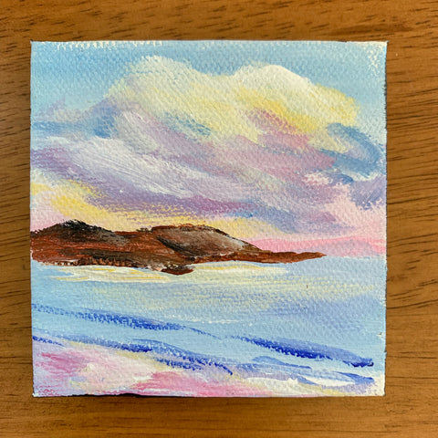 Small Seascape Original Acrylic Painting - 3x3 Tiny Art