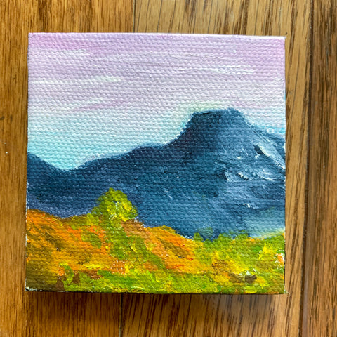 Pedernal Mountain New Mexico Landscape  - 3x3 Tiny Art
