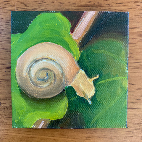 Follow Your Dreams Tiny Snail Painting - 3x3 Tiny Art