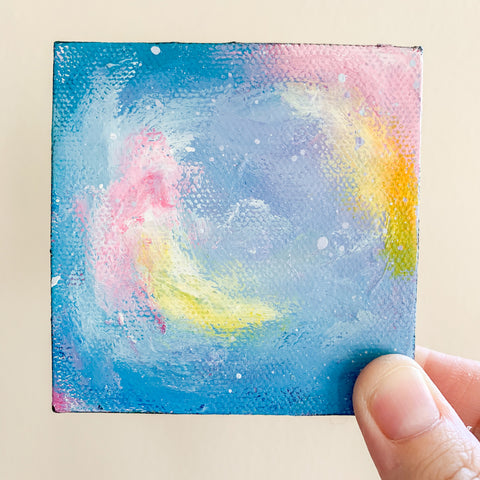 Mini Galaxy Abstract Painting - 3x3 Tiny Art - april bern photography