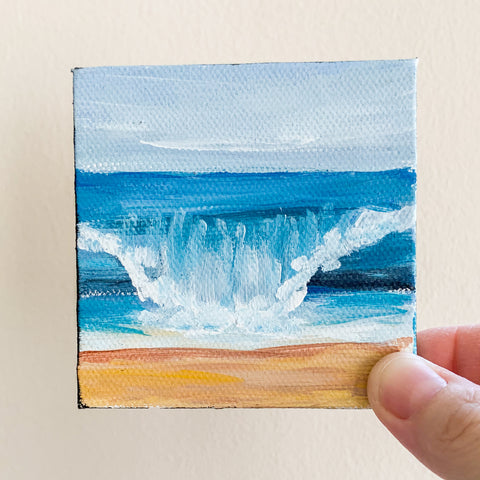 Beach Waves Original Oil Painting - 3x3 Tiny Art
