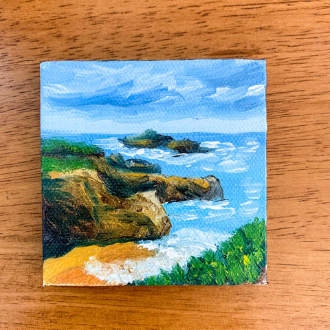California Coast Original Oil Painting - 3x3 Tiny Art - april bern art & photography