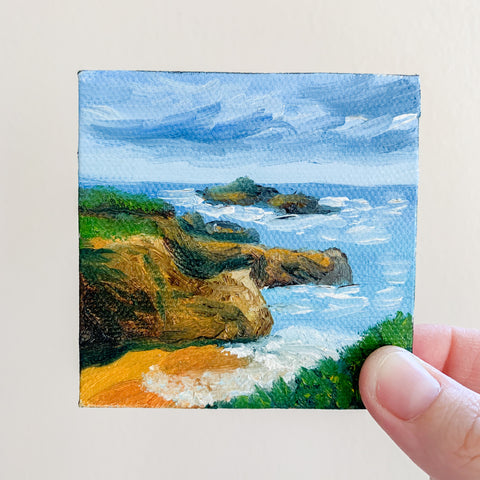 California Coast Original Oil Painting - 3x3 Tiny Art