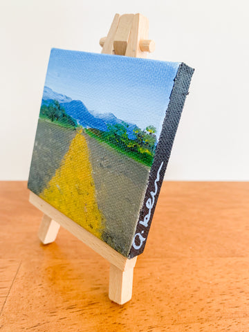 Open Road New Mexico Landscape Original Oil Painting - 3x3 Tiny Art - april bern photography