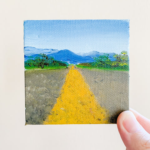 Open Road New Mexico Landscape Original Oil Painting - 3x3 Tiny Art