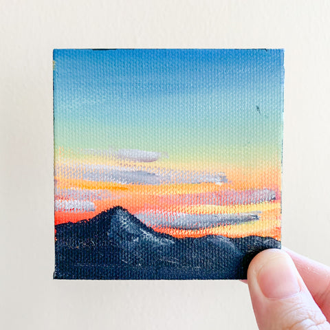 Mountain Sunset Landscape Original Acrylic Painting - 3x3 Tiny Art