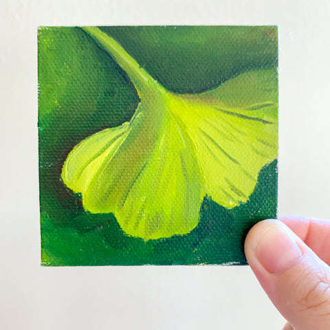 Mini Ginkgo Leaf Original Oil Painting - 3x3 Tiny Art