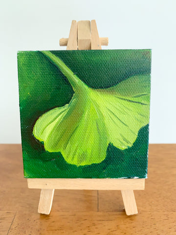 Mini Ginkgo Leaf Original Oil Painting - 3x3 Tiny Art - april bern art & photography