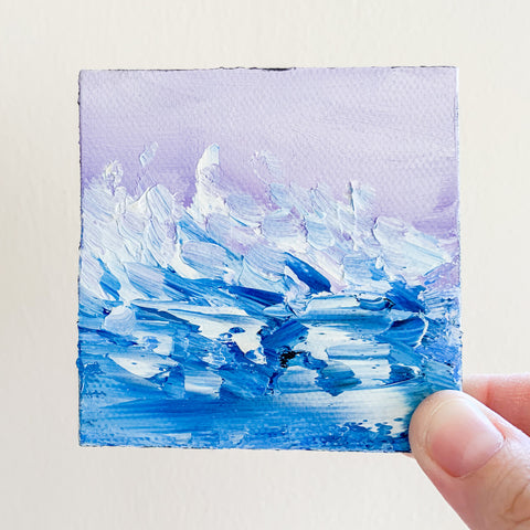 Rough Seas Original Oil Painting - 3x3 Tiny Art - april bern photography