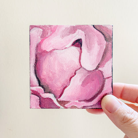 Pretty Pink Peony Original Acrylic Painting - 3x3 Tiny Art - april bern photography