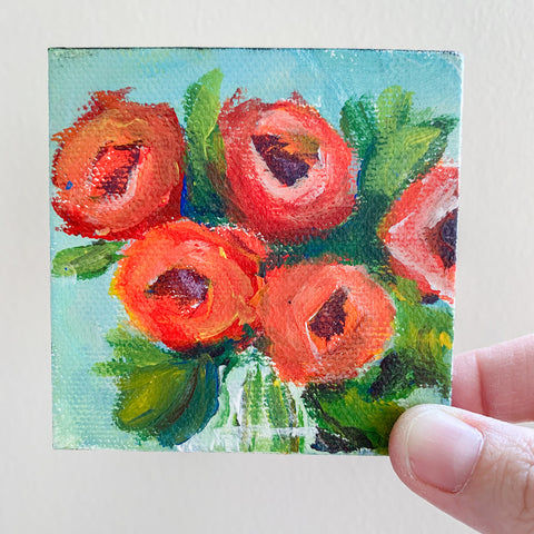 Mini Rose Bouquet Abstract Acrylic Painting - 3x3 Tiny Art