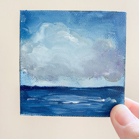Stormy Ocean Small Seascape Acrylic Painting - 3x3 Tiny Art