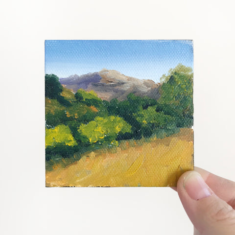 California Landscape Original Oil Painting - 3x3 Tiny Art