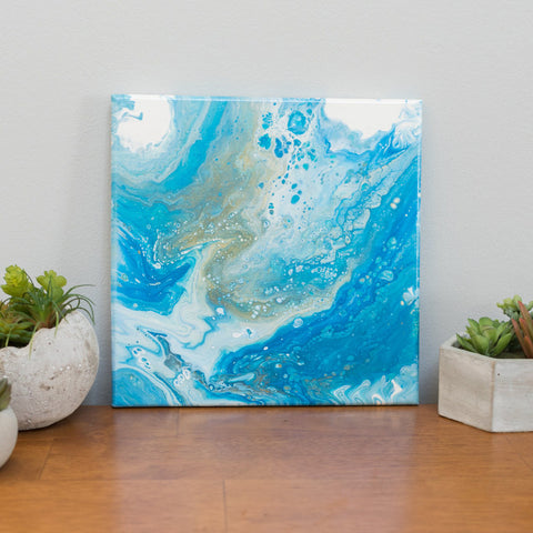 Ocean Abstract Art - 10 x 10 Blue Acrylic Painting