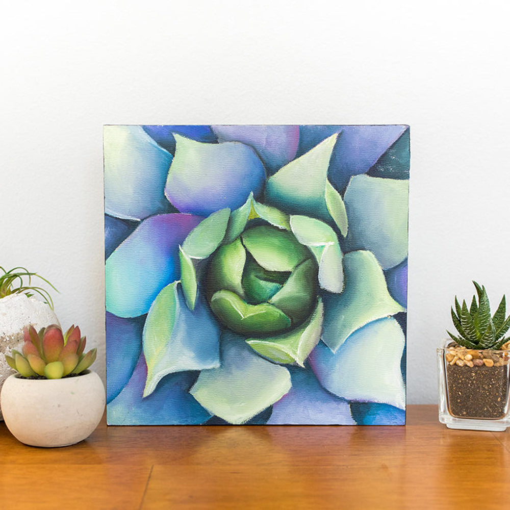 Technicolor Agave Painting - 8x8 inch Original Oil Painting - april bern photography