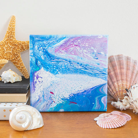 Arctic Ocean Abstract Art - 8x8 Acrylic Painting