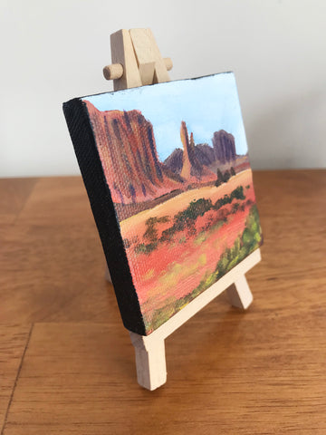 Arizona Landscape Original Acrylic Painting - 3x3 Tiny Art - april bern photography
