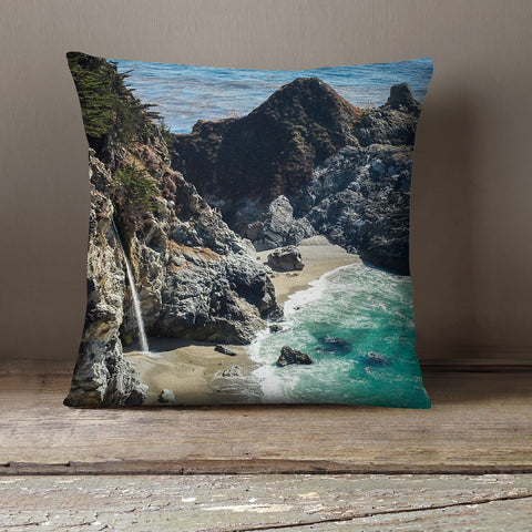 Big Sur Waterfall Decorative Throw Pillow Cover