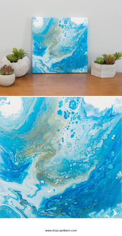 Ocean Abstract Art - 10 x 10 Blue Acrylic Painting - april bern photography