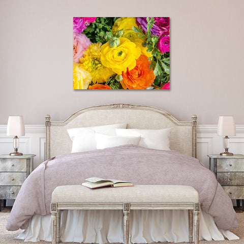 Ranunculus Gallery Wrapped Canvas, Floral Modern Home Decor