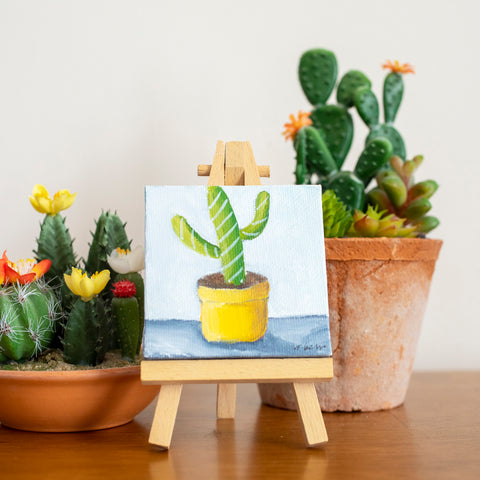 Cute Mini Cactus - 3x3 Original Oil Painting