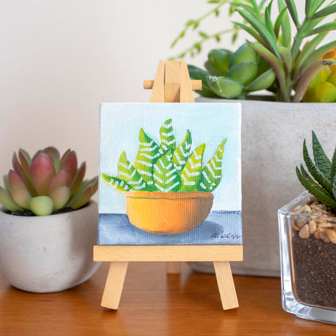 Cute Mini Succulent  - 3x3 Original Oil Painting