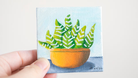Cute Mini Succulent  - 3x3 Original Oil Painting - april bern photography
