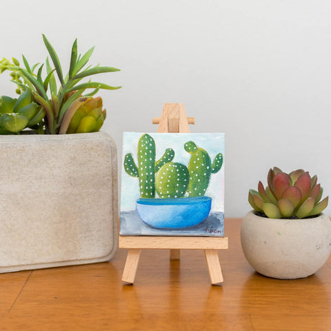 Cactus Art, Mini Cactus Trio Original Oil Painting - 3x3 Original Oil Painting