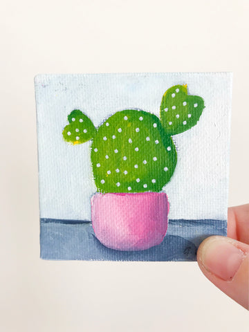 Cute Mini Cactus Oil Painting - 3x3 Original Oil Painting - april bern photography
