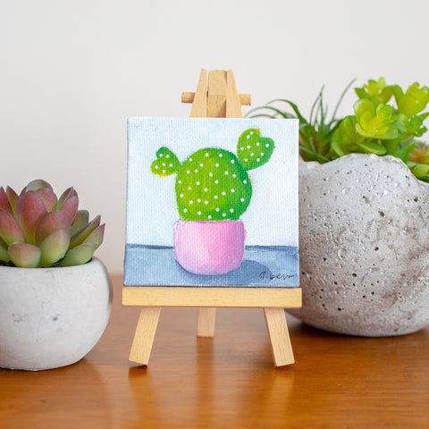 Cute Mini Cactus Oil Painting - 3x3 Original Oil Painting
