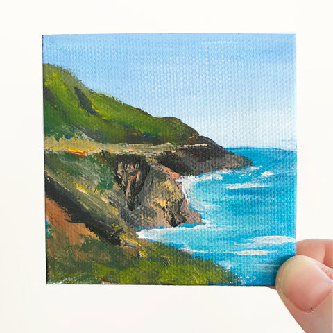 California Coastline Landscape Original Acrylic Painting - 3x3 Tiny Art