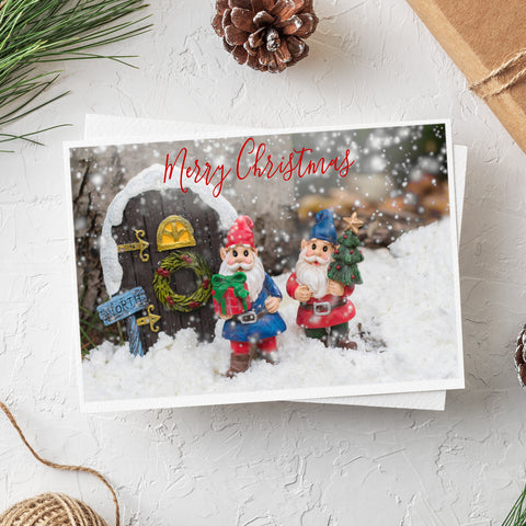 Merry Christmas Gnome Card - Whimsical Holiday Blank Greeting Card