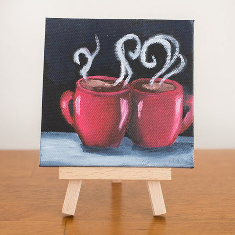 Mini Coffee Cup Love - 4x4 Original Oil Painting