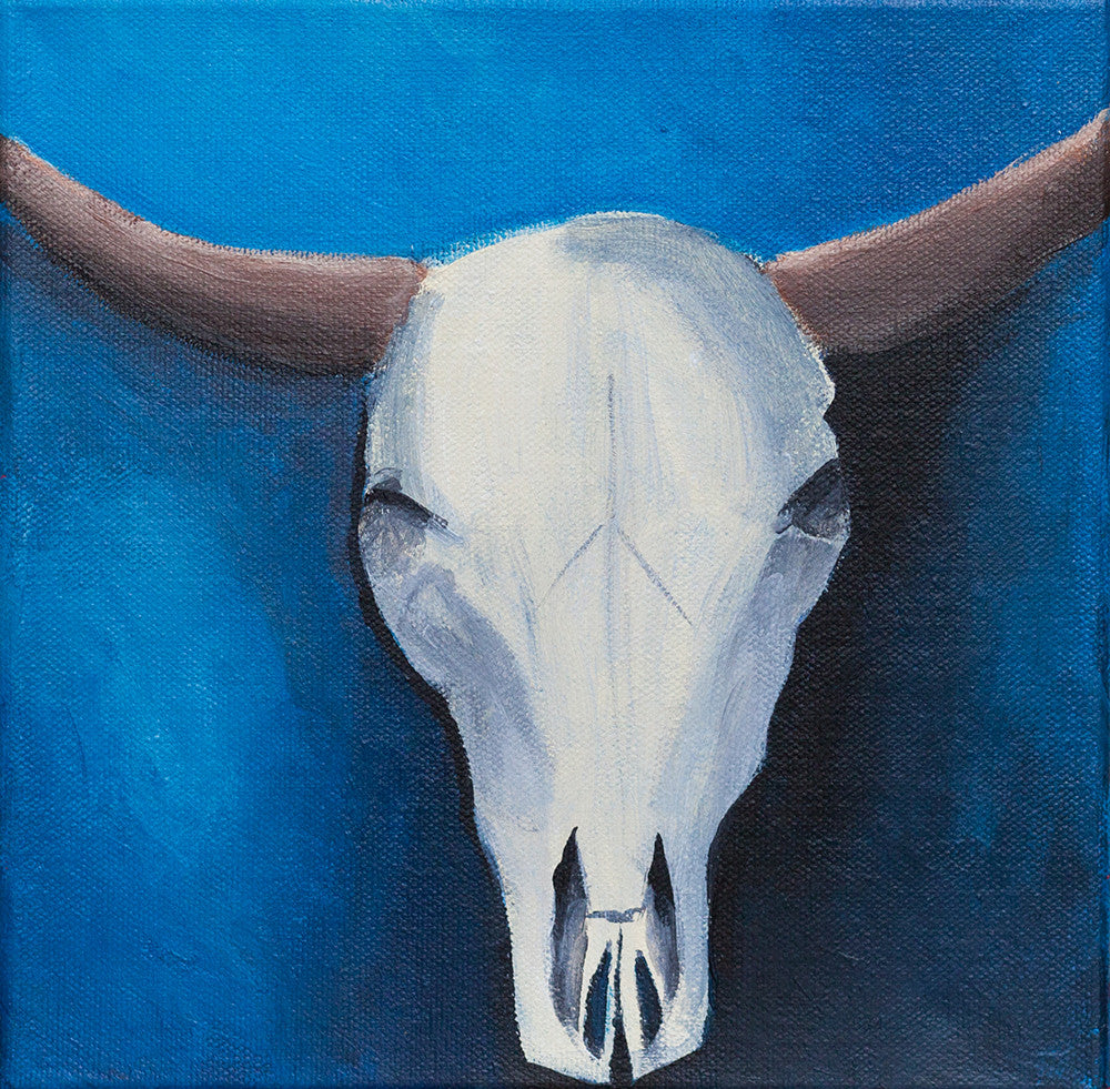 Southwestern Beauty Cow Skull- Original Acrylic Painting, 8x8 Painting, Fine Art Painting, Southwest Art, Southwest Decor, Cow Skull Art