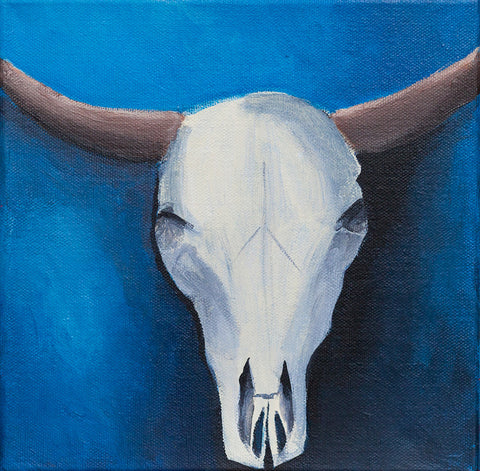 "Southwest Beauty Cow Skull - Oil Painting 8""x8"""