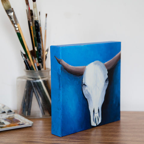 Cow Skull Acrylic Painting