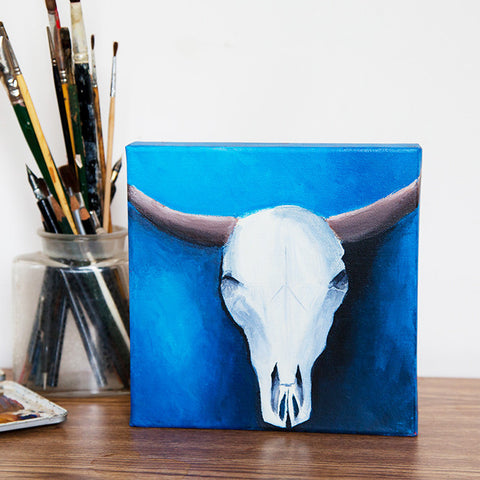 "Southwest Beauty Cow Skull - Oil Painting 8""x8"" - april bern photography"