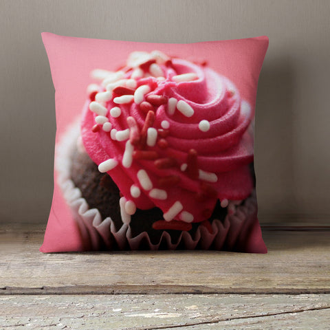 Pink Cupcake Decorative Throw Pillow