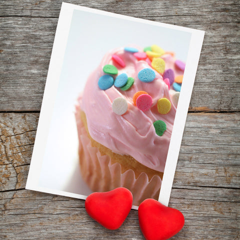 Pink Cupcake Photo Notecard, Blank Birthday Card